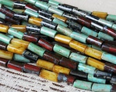 Aged Picasso 9mm Tube Beads - Jewelry Making Supply - Czech Glass Beads - 20 or 60 Inches - 9x4mm Tribal Tube Bead Mix