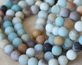 4 or 6mm Round Matte Gemstone Beads -  Jewelry Making Supply - 4mm Matte Amazonite - 16 Inch Strands