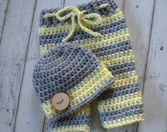 Newborn Pants and Hat-Baby Boy Hat and Pants Set-Baby Boy Hat-Baby Girl Hat-Newborn Outfit-Baby Beanie-Baby Boy Beanie-Newborn Girl Pants