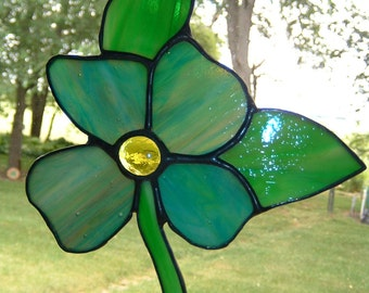 Stained Glass  Flower Suncatcher Window Hanging