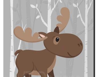 Woodland Nursery Decor, Animal Nursery Art, Moose Picture, Forest Animals, Kids Wall Art, Baby Girl, Baby Boy Nursery, Print