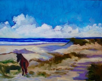 Modern Impressionist Original Oil Painting Beach Landscape by Rebecca Croft