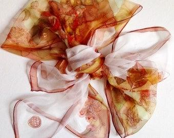 Hand painted silk scarf - earthy tones silk scarf, English red silk scarf - floral motives chiffon silk scarf - wearable art - 18x72inch
