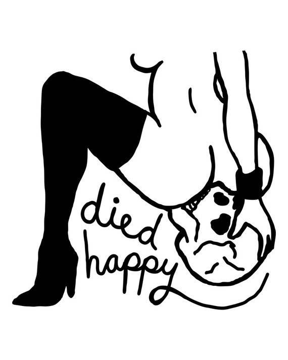 Died Happy Print. Kinky Dark Illustration. Erotic Art.