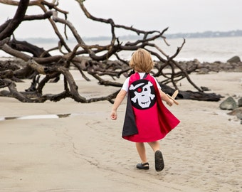 Kids PIRATE costume CAPE for easy Halloween costume - Dress-up costume cape- pirate skull and crossbones