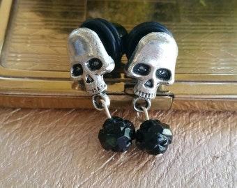 0g Silver Skull Girly Dangling  Plugs