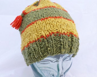 Wool Hat in Olive and Maize and Tomato Colors