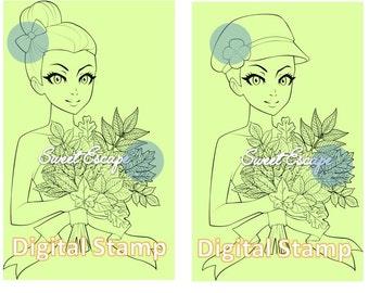 Autumn Girl Digital Stamp
