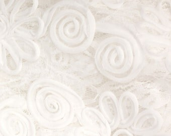 Tutera Embroidered WHITE Lace ~ 100% Polyester Fabric ~ 1 yard ~ from Fabric Traditions
