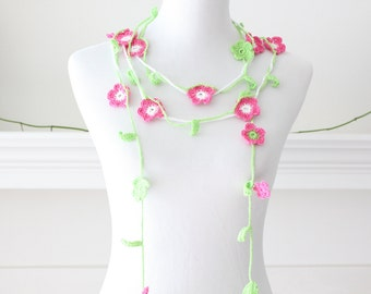 Crochet Pink Green White Lariat, Scarf, Necklace, Scarflette
