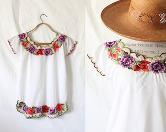 c1970's Mexican Boho Floral Blouse