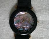 Vintage Functioning Haiku Genuine Abalone and Onyx Face Wrist Watch