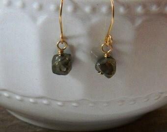 Pyrite Earrings, Pyrite nugget earrings, Drop Earrings, Dangle Earrings, Gemstone Earrings