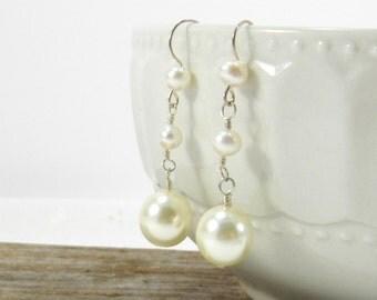 Long Pearl Bridal Earrings, Wedding Jewelry, Pearl Earrings, Dangle Earrings, Sterling silver earrings, Handmade bridemaids jewelry