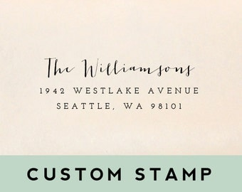 Return Address Stamp - Style #01, Wood Mounted or Self-Inking Address Stamp, Wedding Stamp, Personalized Stamp, Custom Stamp, Client Gift