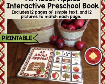 Printable Apple Interactive Preschool Book