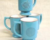 Coffee Cup Set , Coffee Mug , Set of Mugs , Aqua Blue , Mid-Century , Tea Cup , Beverage Cup , Ceramic , Set of 4 , Mugs , Mug , Serving Cup