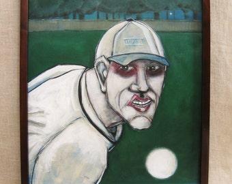 Baseball Player , Sports Portrait , Painting , Male Portrait , Wil Shepherd , Sports , Fine Art ,Portraiture ,Wil Shepherd Studio ,Original