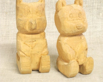 Vintage Hand Carved Folk Art Bear, Wood Carving, Carved Teddy Bear, Animal, Pair, Handmade, Rustic, Primitives, Cabin Decor, Wood Art