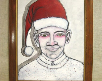Wil Shepherd Studio Male Portrait Painting, Holiday Portraiture, Elf, Santa Hat, Original Fine Art, Holiday Decor, Imp, Surreal, Framed