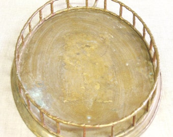 Vintage Oval Brass Tray, Bamboo, Vanity Tray, Serving, Bar, Display, Aged Brass, Trays, Serving, Entertaining