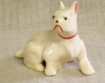 Ceramic Dog Figurine, Folk Art, Handmade, White Dog, Puppy, White Puppy, Mid-Century, Dogs, Canine, Terrier, Folk Art Animals, Folk Art Dog