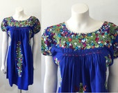Vintage Blue Oaxacan Mexican Embroidered Top