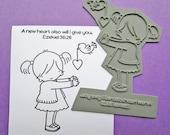 A New heart Unmounted Rubber Stamp, bible journaling stamps, Heart, Valentine, Handmade Cards, Bible Journaling, Cute, Bird, Inspirational