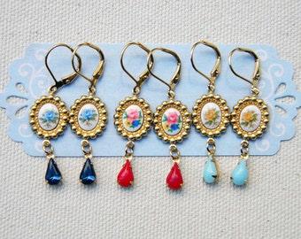 Spring melodies - dangle earrings. Vintage earrings. Bridemaids earrings.