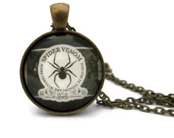 Spider Venom  Necklace, Black Spider Necklace,  Halloween Necklace, Art Pendant, Halloween Necklace, Black and White, Bronze