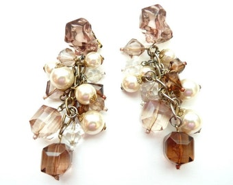 Vintage Pearl and Lucite Statement Earrings 4 Inches 1990s