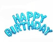 Happy Birthday Blue Balloon Kit - Foil Balloon - 16 inches - 40cms - Birthday Party - Helium Balloon - Ready to Ship.