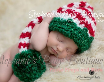 Crochet Baby Boy Girl Christmas Santa's Little Helper Stocking Cap, Newborn, 0-3, 3-6 Month, Handmade, Elf Hat, Photo Prop, Photography Prop