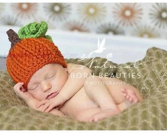 "Ready to Ship, Crochet Newborn Baby Pumpkin Hat, Handmade, Beanie, ""Mommys Lil Punk'n"", Photo Prop, Photography Prop, Shower Gift, Halloween"