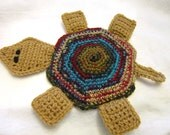 Turtle Hot Pad, Turtle Pot Holder, Multicolor Tan Tortoise Table Decor, Wall Decor, Turtle Trivet for Your Kitchen