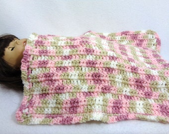 Doll Blanket, Baby Doll Afghan Pink, Rose, Tan and White Snuggie, 18 Inch Doll Blanket, Crochet Soft Doll House Quilt, Gift for Little Girl