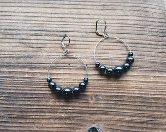 Hematite Gemstone Silver Mini Hoop Earrings Gray Gemstone Jewelry Handmade in Indiana Rana Salame Jewelry Gemstone Hoops Hematite Earrings