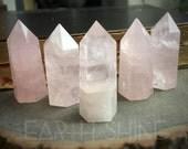 """Rose Quartz crystal 2.5"""" obelisk point tower gemstone polished stone, pink, reiki, wiccan, altar,"""