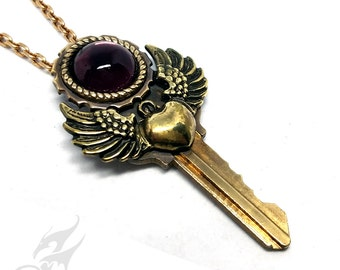 Steampunk Key Pendant Necklace w/ Winged Heart & Vintage Amethyst Purple Glass Cabochon on Repurposed Key #P0053 by Robin Taylor Delargy