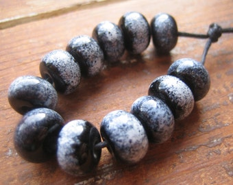 Black & White Monochrome Lampwork Glass Beads, SRA, UK Seller