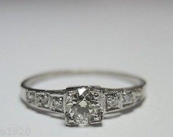 Antique Diamond Platinum Art Deco Engagement Ring | RE: 741