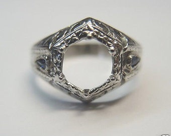 Antique Diamond Synthetic Sapphire White Gold Art Deco Engagement Ring Setting| Will Hold 7MM
