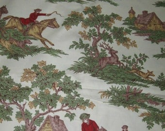 Vintage French Country Toile Deer Hunt Cotton Decorator Upholstery Fabric 12 Plus Yards