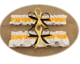 White and Gold Wedding Garter Set