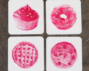 Dessert coasters - gift for baker, gift fo her, Screenprint Coasters, set of 4