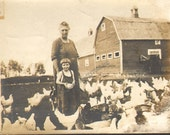 Darling Young Girl poses with Her Grandmother in Barn Yard filled with Chickens Vintage Photo  K17803