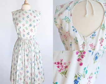 Vintage 50s Dress | 1950s Cotton Dress | Floral Print Cotton Dress m