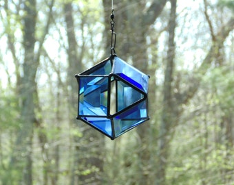 Orb suncatcher, blue bevel glass, modern octahedron window art, geometric suncatcher, prism bevel suncatcher, 3D stained glass art