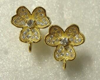 18K gold Sterling Silver 3D 3 heart petal diamond cz  Ear Post, Ear Nuts included, closed Loop, Bridal design, Terra Finds Design - EP-0021