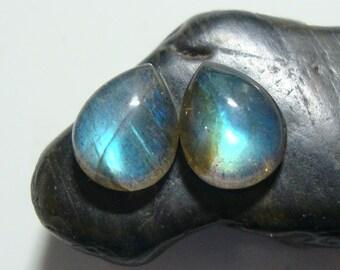 LABRADORITE Smooth Teardrop Cabochon, One Matching Pair, 10x8mm, AAA+, Flashing Fiery Green Blue, o11